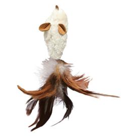 Speeltje pluche muis met veren per stuk beige