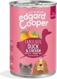 Edgard&Cooper Blik Duck Chicken Puppy - Hondenvoer - Eend Kip Banaan 400 g Graanvrij