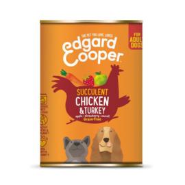 Edgard&Cooper Blik Chicken Turkey Adult - Hondenvoer - Kip Kalkoen Aardbei 400 g Graanvrij