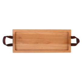 Bowls and Dishes - Serveertray - 49cm - 1 vaks - handgreep leer- beuken