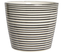 IB Laursen mok Casablanca stripes horizontaal zwart