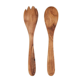 Bowls and Dishes - olijfhouten slacouvert - 4tand - 25cm - pure olive wood