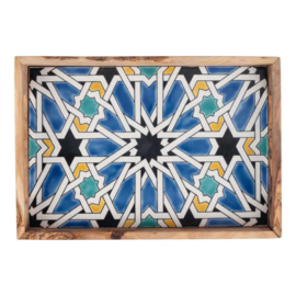 Bowls and Dishes - olijfhouten dienblad met siertegel - blauw -  pure olive wood