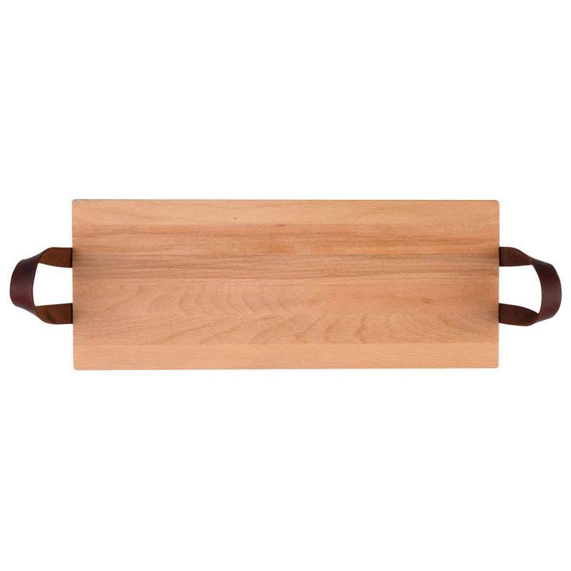 Bowls and Dishes - Serveertray - 49cm -  handgreep leer- beuken