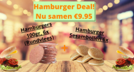 Hamburger Deal! 6x Rundvlees hamburger 100gr❄️+ 6x Hamburger sesambollen