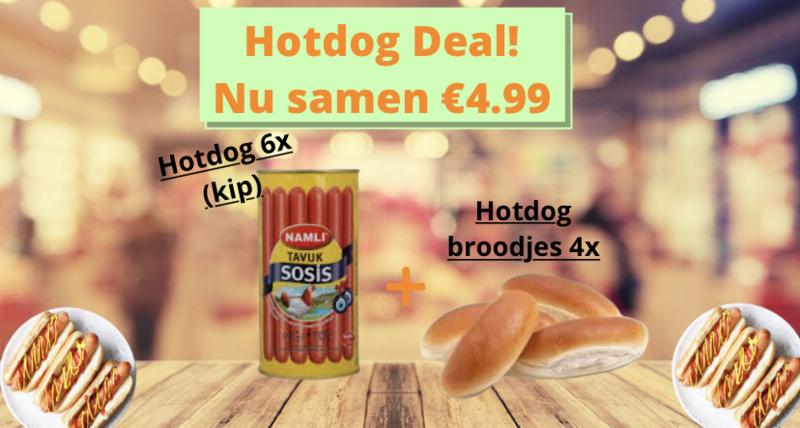 Hotdog pakket, 6x Hotdog kip + 4x Hotdog broodjes