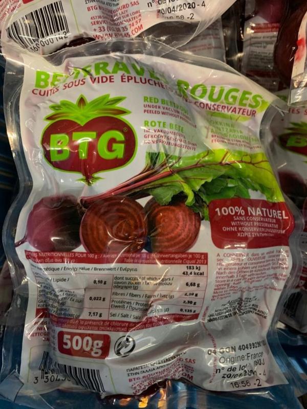voorgekookte bieten per 500gr