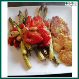 Aardappel koekjes met groenten uit de oven