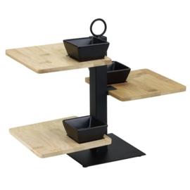 Serveertray 3 laags met bamboe plankjes en 3 zwarte keramieken bakjes