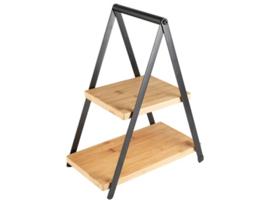 Etagère 2 laags van bamboe en metaal 28x16x35,5 cm