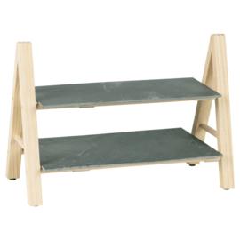 Etagère 2 laags hout en leisteen 37x20x27 cm