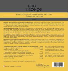 bon & belge - Dragées aux framboises séchées et gelées enrobées de chocolat blanc - billes de chocolat - 200 g