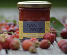 bon & belge - Confiture artisanale Belge à la fraise (80%) pauvre en sucre avec des édulcorants - 200g
