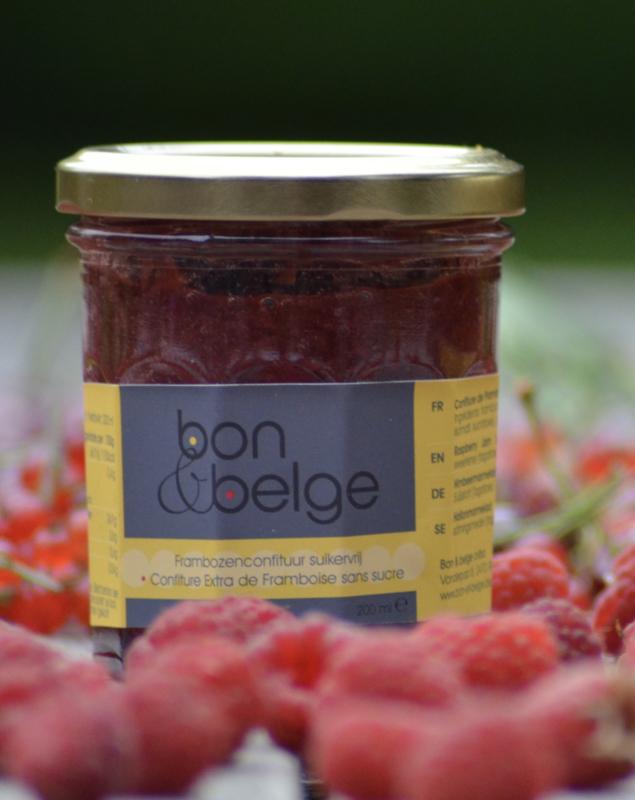 bon & belge - Confiture artisanale Belge à la framboise  (80%) pauvre en sucre avec des édulcorants - 200g