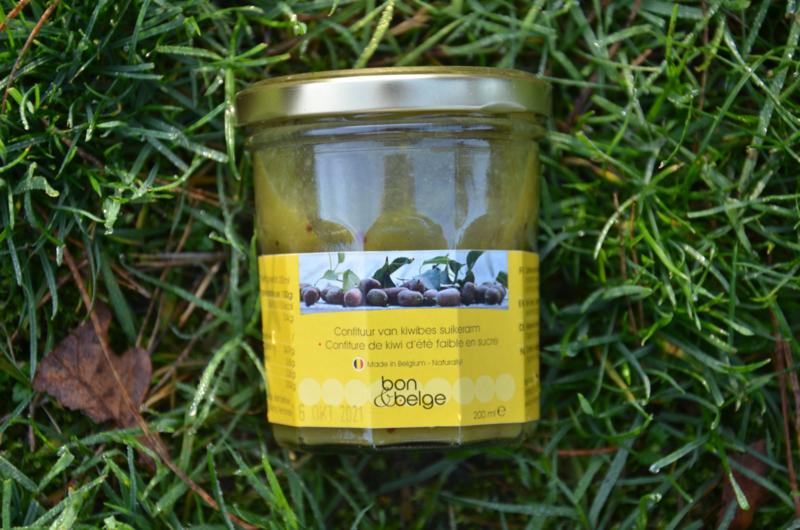 Belgische artisanale suikerarme confituur van kiwibes  - 80% fruit - 200 g