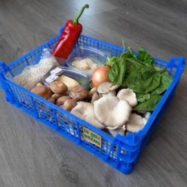 Maaltijdbox | Romige risotto met paddenstoelen, spinazie en kaas