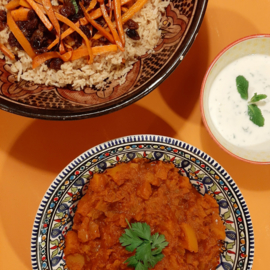 Afghaanse pompoenstoof met gebakken rijst (vanaf 2 pers)