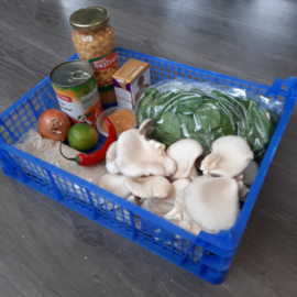 Curry van paddenstoelen en kikkererwten (vanaf 2 pers)
