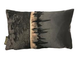Strook veer  zwart sierkussen 50x30 cm (BRS1009)