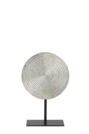 Ornament op voet Ø25x38 cm RAWAS ruw nikkel cirkel-mat zwart (LL1002)