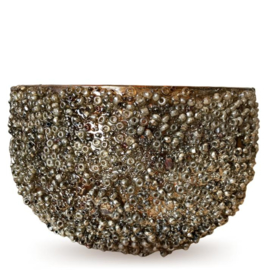 Windlicht mozaiek zilver/brons 15x15x1cm (DC1009)