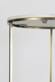 Zuil S/2 Ø32x82+Ø41x102 cm RICARDO wit marmer + ant. brons (LL1033)