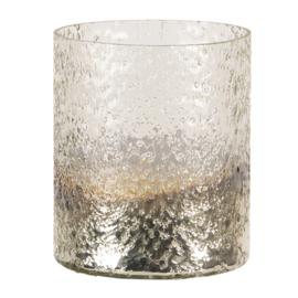Waxinelichthouder 11x14cm zilverkleurig (CE1005)