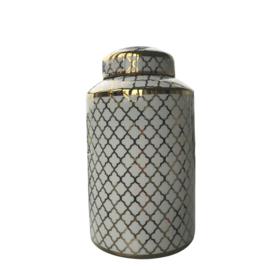 Pot porselein met deksel wit/ goud 17x17x38,5 cm (MMG1004)