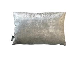 Croco silver sierkussen 50x30 cm (BRS1028)