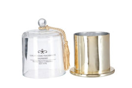 Geurkaars + Stolp Glas/Wax Goud S 11X13cm- 15h (JL1004)