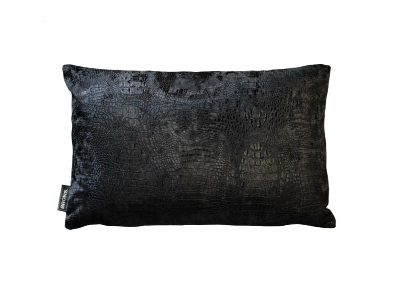 Croco zwart sierkussen 50x30 cm (BRS1020)