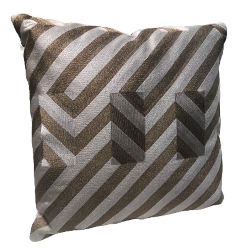 Cushion graphic brown/white CO 50x50 cm (DC1005)