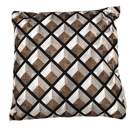 Cushion graphic black-taupe-white 50x50cm (DC1010)