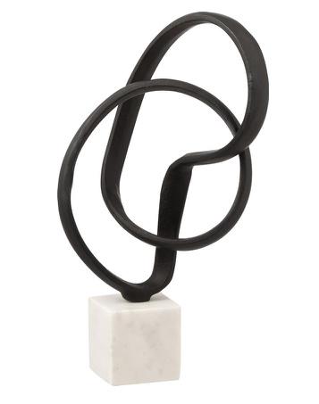 Figuur Ring Op Voet Aluminium/Marmer Zwart/Wit 19x19x37cm (JL1007)