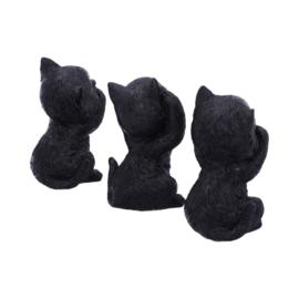 Beeld - Three Wise Kitties 8.8cm