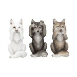Beeld - Three Wise Wolves 10cm