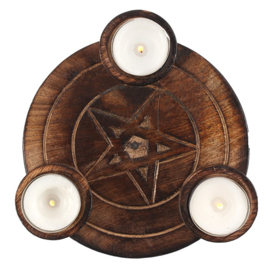 Waxinelichthouder Hout - Pentagram