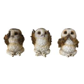 Beeld - Three Wise Brown Owls 7.5cm