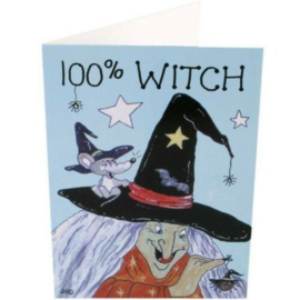 Wenskaart + Envelop - 100% Witch
