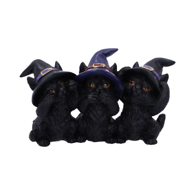 Beeld - Three Wise Black Cats 7cm