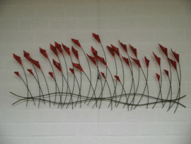 Wanddecoratie metaal papavers 122cmLx54cmH