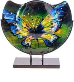 Vaas glas halfrond Butterfly Ø37cm