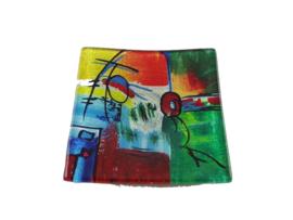 Schaaltje glas multicolor vierkant 15x15cm