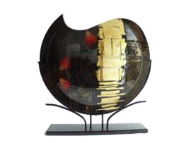 Vaas glas maanvorm in standaard 48cmHx11cm