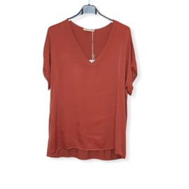 T-Shirt Roest bruin Size V-Hals