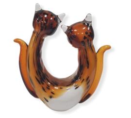 Glassculptuur  Poes duo bruin 20cmH x 18cmL x 7cmB Muranostijl