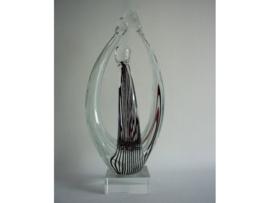 """Glassculptuur """"Family"""" zwart/wit gestreep"""