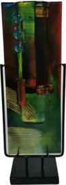 Vaas glas Artwork smal in standaard 13x40cmH