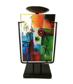 Kandelaar glas multicolor