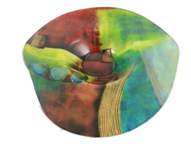 Schaal glas hoed Artwork 46x46x10cmH
